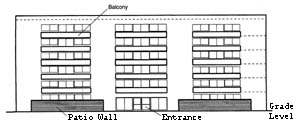 Figure 1-5. Elevation of six-story apartment building